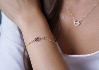 【14KGF】Iolite & Mystic Topaz Layered Bracelet