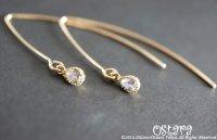 【14KGF】Simple Earrings,Cubic Zirconia Tiny Teardrop