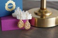 【14KGF】Earrings,Matt Gold Floral Teardrop Filigree