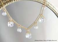【14KGF Choker Necklace】-Gemstone,Dream Crystal, NY Herkimerdiamond x White Topaz-