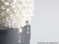 【14KGF】14KGF Chain Dangle Earrings,AAA Fresh Water Pearl,CZ,Cotton Pearl