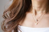 【Minimalism】14KGF Heart Chain Choker Necklace[35cm]