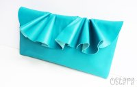 Leather Ruffle Clutch bag(S-size) in Jade by Vicki From Europe
