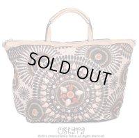 Bead Embellishments Leatherette Handbag,Tote, Shoulder bag or Messanger bag by Liza From Europe -Brown-