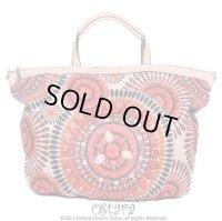 Bead Embellishments Leatherette Handbag,Tote, Shoulder bag or Messanger bag by Liza From Europe -Orange-