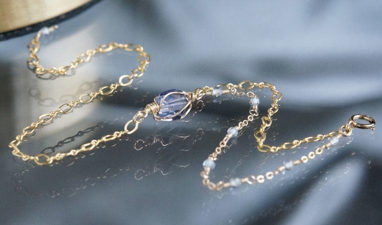 画像2: 【14KGF】Iolite & Mystic Topaz Layered Bracelet