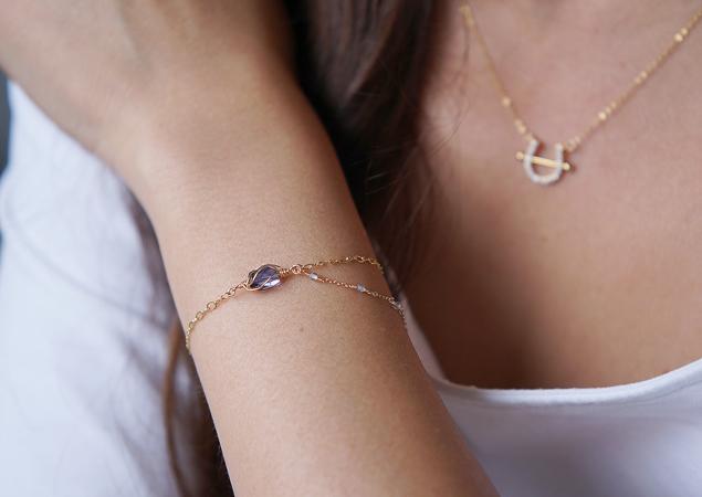 画像1: 【14KGF】Iolite & Mystic Topaz Layered Bracelet