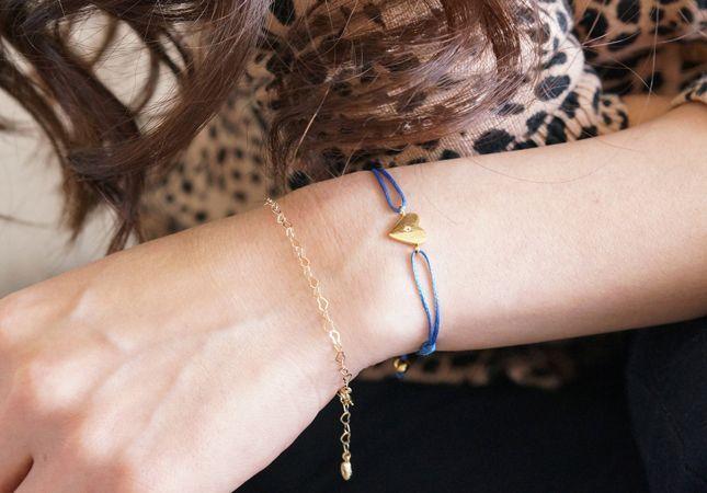 画像4: 【Silver925】White Topaz Adjustable Code Bracelet-Heart-