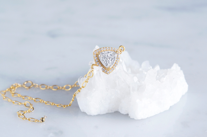 画像1: 【14KGF】Silver Druzy CZ PAVE,Figaro Chain Bracelet