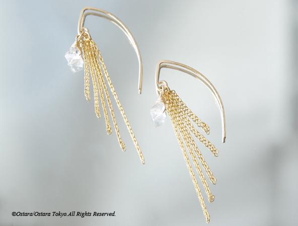画像1: 【14KGF/Tiny】Leaf Hook Fringe Earrings, -NY Herkimerdiamond-