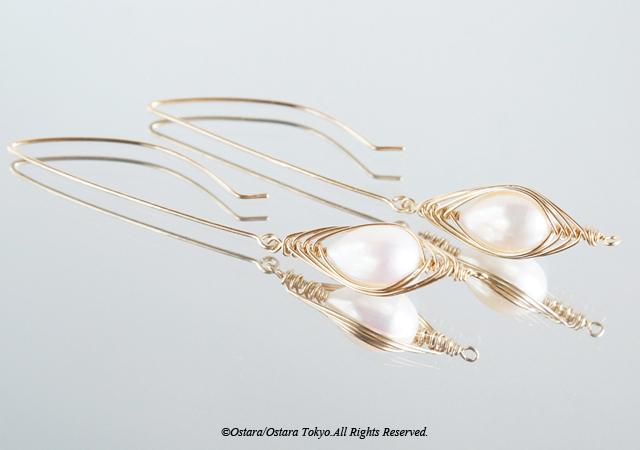 """画像2: 【Tsubomi】14KGF Leaf Hook Earrings,""""White Pearl"""""""