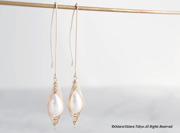 """画像4: 【Tsubomi】14KGF Leaf Hook Earrings,""""White Pearl"""""""