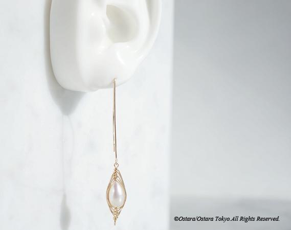 """画像5: 【Tsubomi】14KGF Leaf Hook Earrings,""""White Pearl"""""""