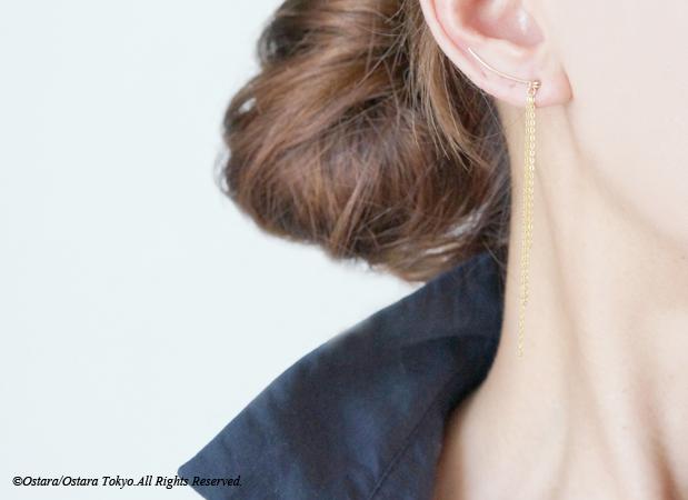 画像1: 【Minimalism】14KGF Hammered Ear Climber-Long Fringe-