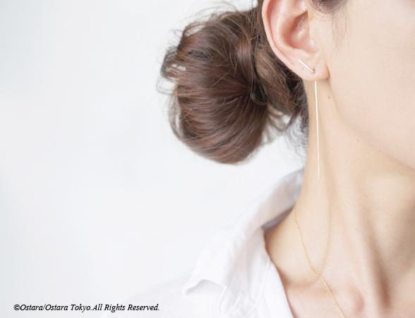 画像1: 【Minimalism】14KGF Hammered Double Bar Earrings