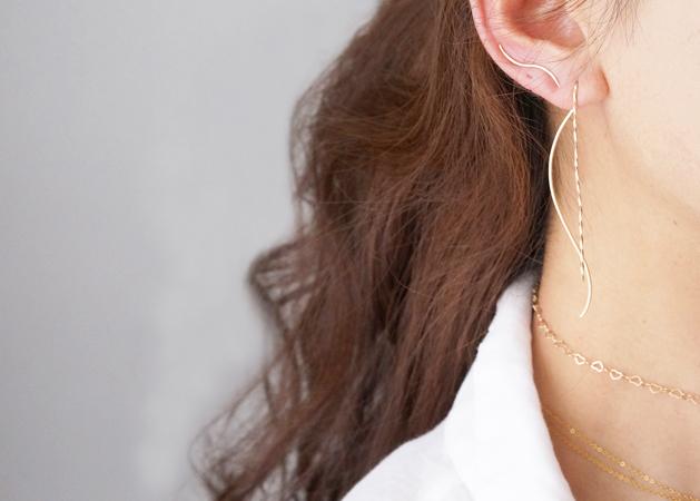画像5:  【Minimalism】14KGF Earrings,Spiral -A-