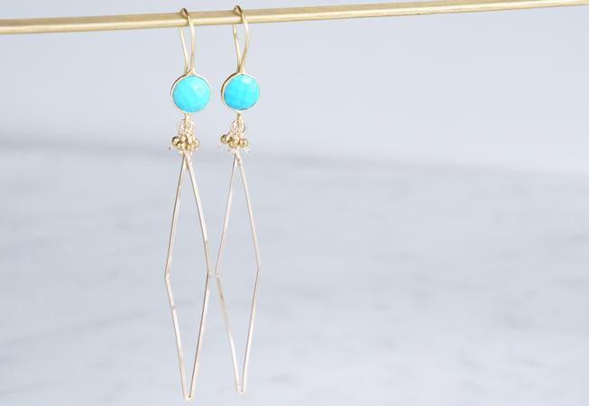 画像1: Long Dangle Earrings,Gemstone Turquoise ,-14KGF Diamond Shape-