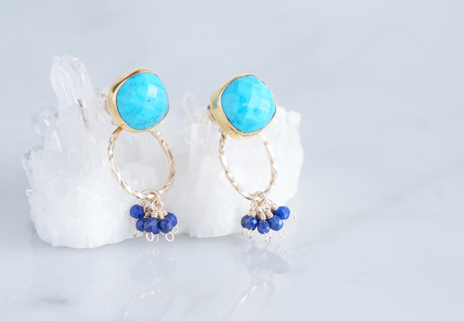 画像1: 2way Stud Earrings,Gemstone Blue Turquoise,Lapis Lazuli