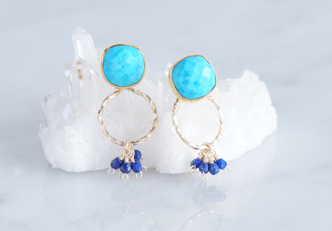 画像2: 2way Stud Earrings,Gemstone Blue Turquoise,Lapis Lazuli