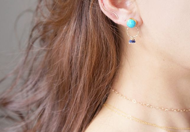 画像3: 2way Stud Earrings,Gemstone Blue Turquoise,Lapis Lazuli