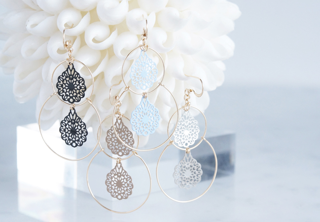 画像1: 【14KGF】Double Hoop Earrings,French Filigree