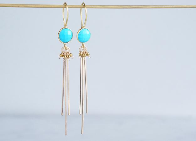 画像1: Long Dangle Earrings,Gemstone Turquoise ,-14KGF Fringe -