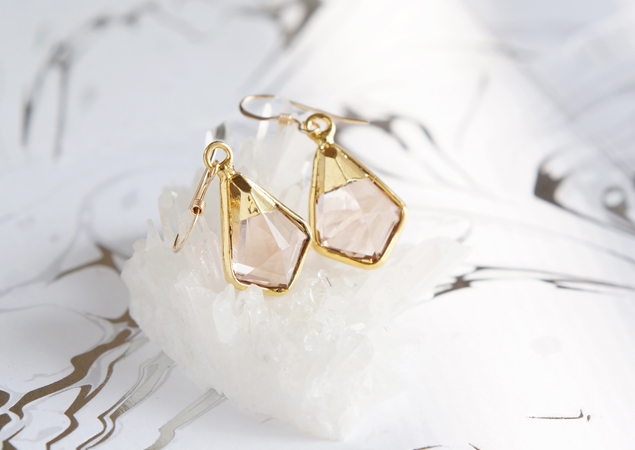 画像1: 【14KGF】Earrings,Morganite Quartz