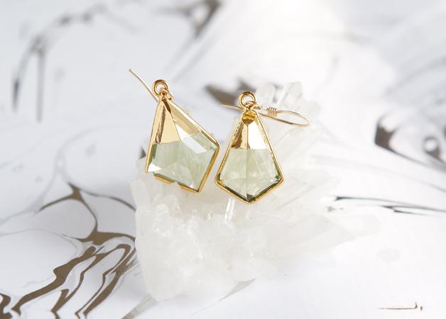 画像1: 【14KGF】Earrings,Green Amethyst Quartz