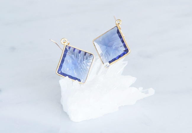 画像1: 【14KGF】Earrings,Diamond-Shaped Iolite Quartz