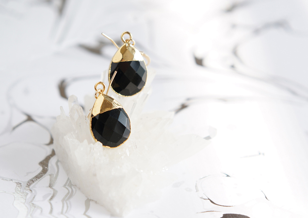 画像1: 【14KGF】Earrings,Gemstone,Pear-Shaped Black Onyx