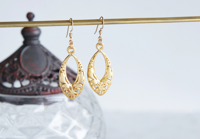 画像2: 【Istanbul】 14KGF Earrings,Matt Gold Filigree -002-