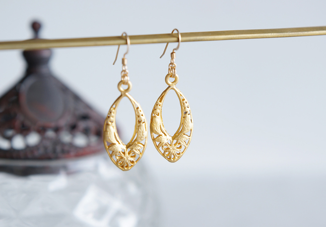 画像1: 【Istanbul】 14KGF Earrings,Matt Gold Filigree -002-