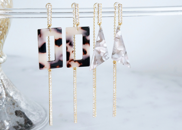 画像1: 【Marble】Non Pierced Earrings,Glass Long Bar -002-[ノンホールピアス]