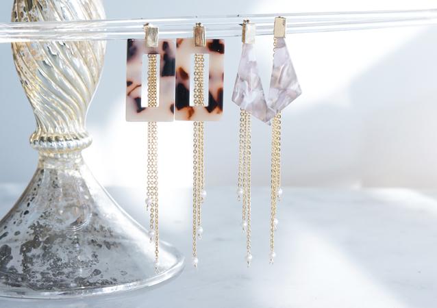 画像1: 【Marble】2-Way Gold Stud Earrings,White Pearl-005-