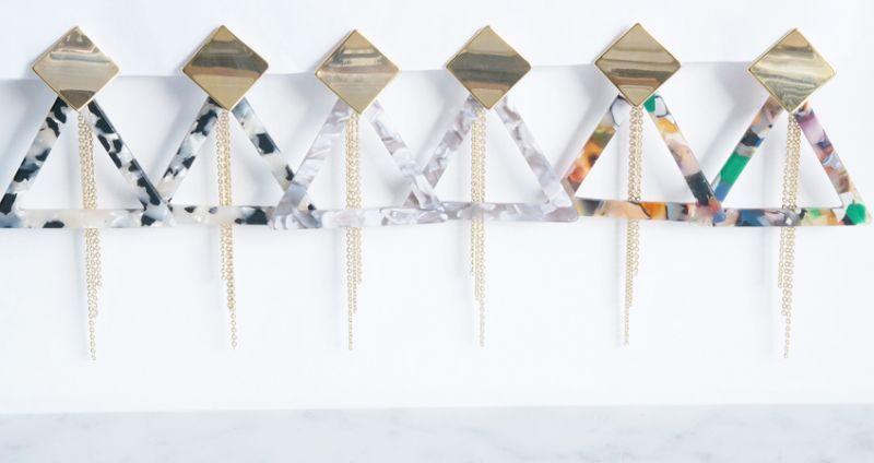 画像1: 【Marble】2-Way Gold Stud Earrings,Triangle-006-