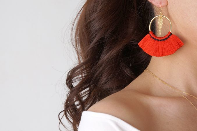 画像3: 【14KGF】Tassel Hoop Earrings