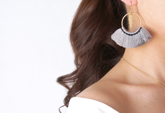 画像4: 【14KGF】Tassel Hoop Earrings