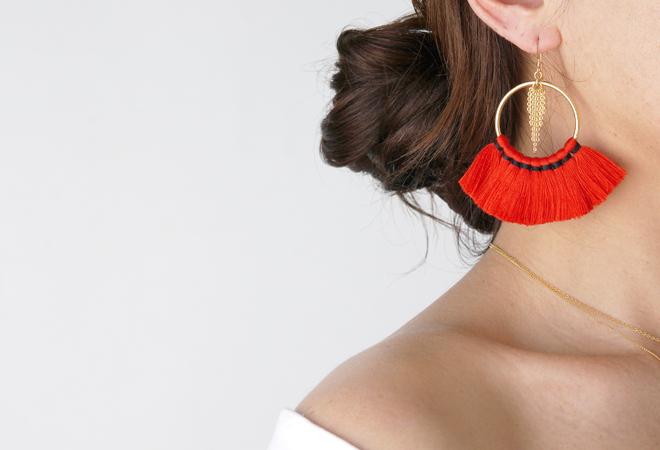 画像5: 【14KGF】Tassel Hoop Earrings