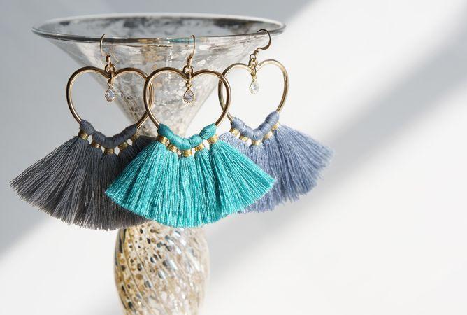 画像1: 【14KGF】Heart Tassel Earrings