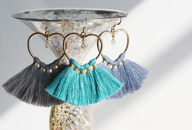 画像2: 【14KGF】Heart Tassel Earrings