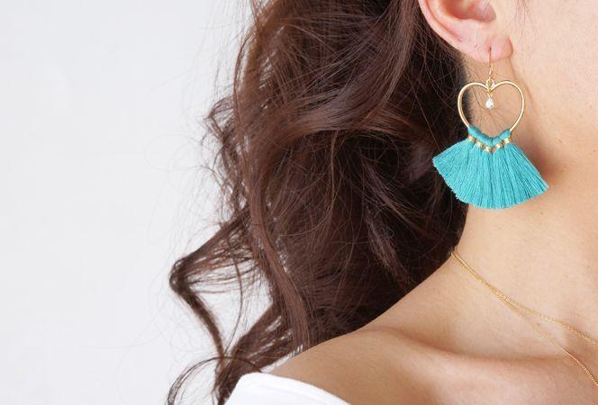 画像4: 【14KGF】Heart Tassel Earrings