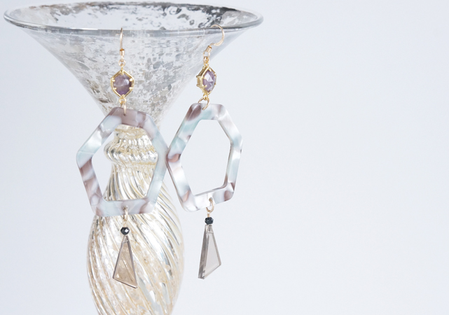 画像1: 【Marble】14KGF Earrings,Gem Hexagon-008-