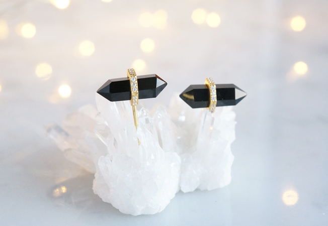 画像1: 【Silver925/Gemstone】 CZ,Black Onyx Earrings