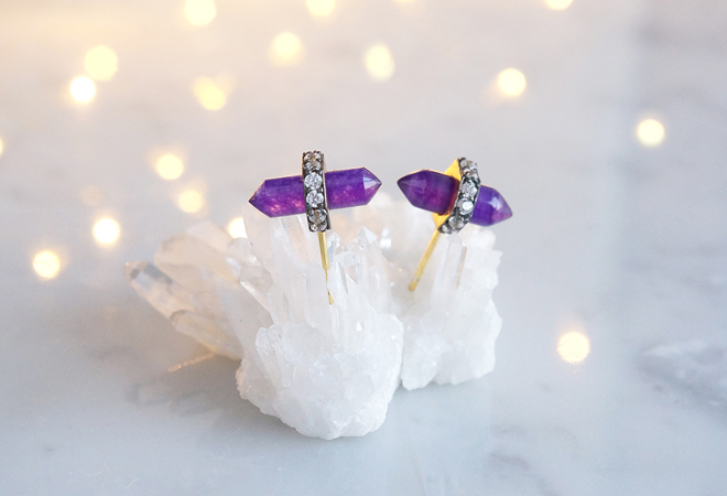 画像1: CZ, Purple Aventurine Stud Earrings