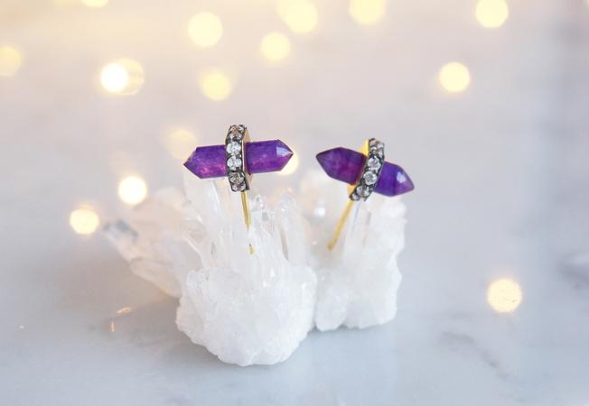 画像4: CZ, Purple Aventurine Stud Earrings
