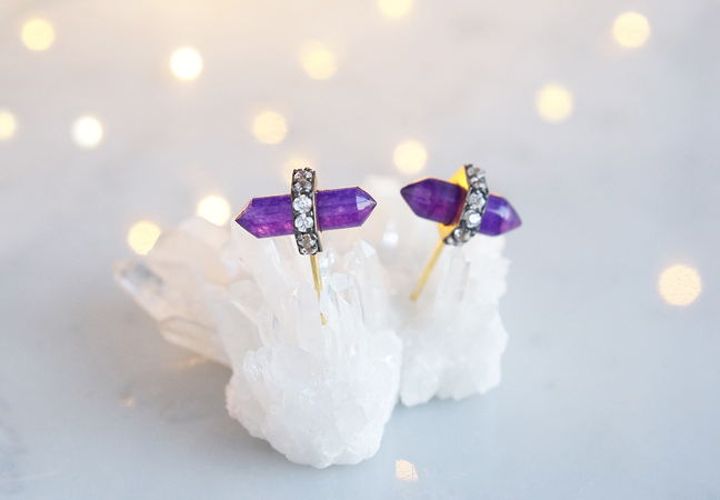 画像2: CZ, Purple Aventurine Stud Earrings