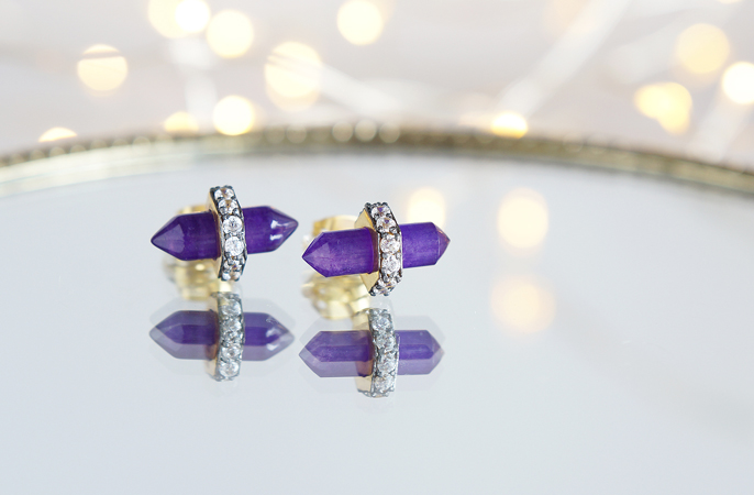 画像3: CZ, Purple Aventurine Stud Earrings