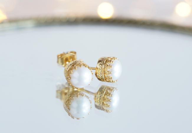 画像1: 【Silver925】Genuine Pearl  Stud Earrings