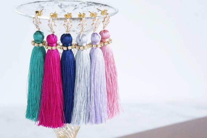 画像1: Silk Tassel CZ Swarovski Simple Stud Earrings
