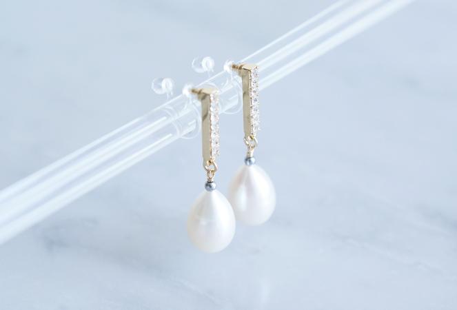 画像4: Genuine Freshwater Pearl,Non Pierced Earrings [ノンホールピアス]